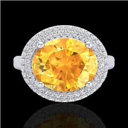 4 CTW Citrine & Micro Pave VS/SI Diamond Certified Ring 18K White Gold - REF-98W5H - 20911