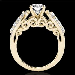 2 CTW H-SI/I Certified Diamond Solitaire Ring 10K Yellow Gold - REF-254N5Y - 35270