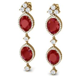 15.81 CTW Royalty Designer Ruby & VS Diamond Earrings 18K Yellow Gold - REF-309K3R - 38909
