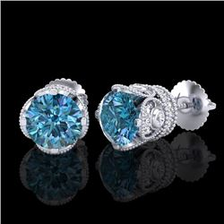 3 CTW Fancy Intense Blue Diamond Solitaire Art Deco Earrings 18K White Gold - REF-349T3X - 37418