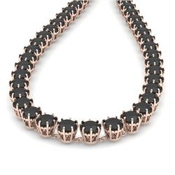 54 CTW Certified Black VS Diamond Necklace 14K Rose Gold - REF-1581T8X - 29645