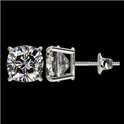2.50 CTW Certified VS/SI Quality Cushion Cut Diamond Stud Earrings 10K White Gold - REF-663F2M - 331