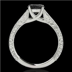 1 CTW Certified Vs Black Diamond Solitaire Ring 10K White Gold - REF-45X8T - 35185