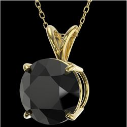 2.50 CTW Fancy Black VS Diamond Solitaire Necklace 10K Yellow Gold - REF-61M5F - 33245