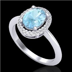1.50 CTW Aquamarine & Micro VS/SI Diamond Ring Solitaire Halo 18K White Gold - REF-54H2W - 21001