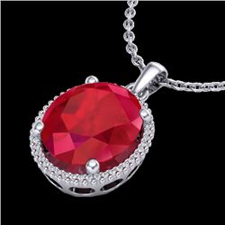 12 CTW Ruby & Micro Pave VS/SI Diamond Certified Halo Necklace 18K White Gold - REF-104Y5N - 20614