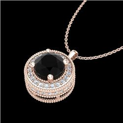 1.25 CTW Fancy Black Diamond Solitaire Art Deco Stud Necklace 18K Rose Gold - REF-89T3X - 38018