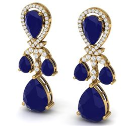38.29 CTW Royalty Sapphire & VS Diamond Earrings 18K Yellow Gold - REF-418N2Y - 38612