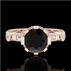 1.71 CTW Fancy Black Diamond Solitaire Engagement Art Deco Ring 18K Rose Gold - REF-123K6R - 37857