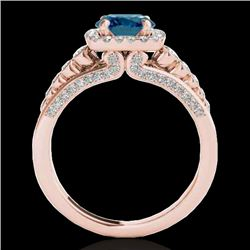 2 CTW SI Certified Blue Diamond Solitaire Halo Ring 10K Rose Gold - REF-247F3M - 34325