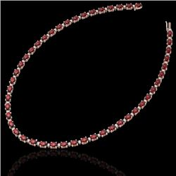 61.85 CTW Garnet & VS/SI Certified Diamond Eternity Necklace 10K Rose Gold - REF-275F8M - 29509