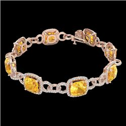 30 CTW Citrine & Micro VS/SI Diamond Certified Bracelet 14K Rose Gold - REF-368R9K - 23019