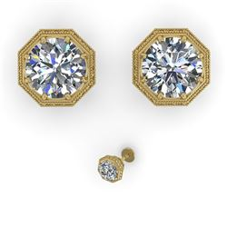 2.05 CTW Certified VS/SI Diamond Stud Earrings 14K Yellow Gold - REF-550F3M - 35617