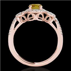 1.38 CTW Certified Si Fancy Intense Yellow Diamond Solitaire Halo Ring 10K Rose Gold - REF-174H5W -