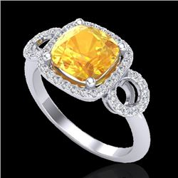 3.75 CTW Citrine & Micro VS/SI Diamond Certified Ring 18K White Gold - REF-65F3M - 22998