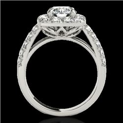 2.5 CTW H-SI/I Certified Diamond Solitaire Halo Ring 10K White Gold - REF-260H2W - 33643