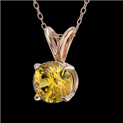 0.73 CTW Certified Intense Yellow SI Diamond Solitaire Necklace 10K Rose Gold - REF-100M2F - 36747