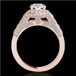 2.56 CTW H-SI/I Certified Diamond Solitaire Halo Ring 10K Rose Gold - REF-392W8H - 34052