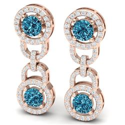 4 CTW Si/I Fancy Blue And White Diamond Earrings 18K Rose Gold - REF-271T4X - 40107