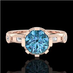 1.71 CTW Fancy Intense Blue Diamond Solitaire Art Deco Ring 18K Rose Gold - REF-263M6F - 37860