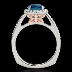1.3 CTW SI Certified Fancy Blue Diamond Solitaire Halo Ring 2 Tone 10K White & Rose Gold - REF-172H8