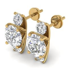 2.9 CTW Certified VS/SI Diamond 3 Stone Stud Earrings 18K Yellow Gold - REF-595X4T - 32566