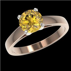 1.50 CTW Certified Intense Yellow SI Diamond Solitaire Ring 10K Rose Gold - REF-262K2R - 33028