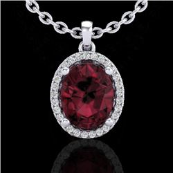 2.50 CTW Garnet & Micro Pave VS/SI Diamond Necklace Halo 18K White Gold - REF-44M9F - 21081