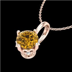 0.62 CTW Intense Fancy Yellow Diamond Art Deco Stud Necklace 18K Rose Gold - REF-87N3Y - 37799
