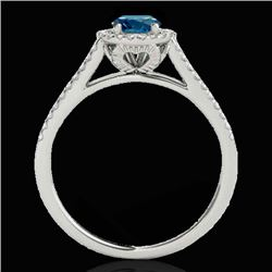 1.3 CTW SI Certified Fancy Blue Diamond Solitaire Halo Ring 10K White Gold - REF-162M8F - 33887