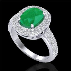 3.50 CTW Emerald & Micro Pave VS/SI Diamond Certified Halo Ring 18K White Gold - REF-143X6T - 20717