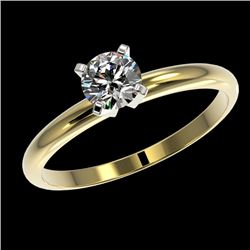 0.55 CTW Certified H-SI/I Quality Diamond Solitaire Engagement Ring 10K Yellow Gold - REF-50W9H - 36