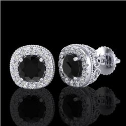 1.69 CTW Fancy Black Diamond Solitaire Art Deco Stud Earrings 18K White Gold - REF-121X8T - 37989