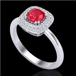 1.16 CTW Ruby & Micro Pave VS/SI Diamond Ring Double Halo 18K White Gold - REF-70X9T - 21033