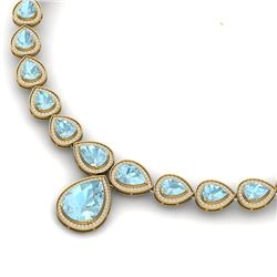 54 CTW Royalty Sky Topaz & VS Diamond Necklace 18K Yellow Gold - REF-781N8Y - 39431