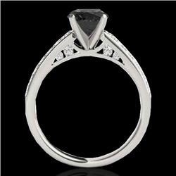 1.5 CTW Certified Vs Black Diamond Solitaire Ring 10K White Gold - REF-68K2R - 34865