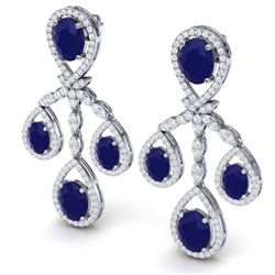 25.08 CTW Royalty Sapphire & VS Diamond Earrings 18K White Gold - REF-490M9F - 38577