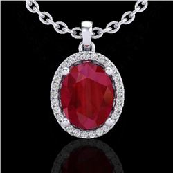 3 CTW Ruby & Micro Pave VS/SI Diamond Certified Necklace Halo 18K White Gold - REF-59T3X - 21087