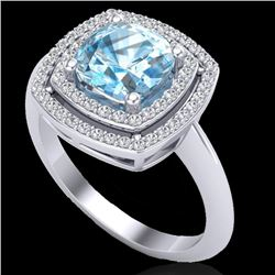 2.02 CTW Sky Blue Topaz & Micro VS/SI Diamond Certified Halo Ring 18K White Gold - REF-63H6W - 20754