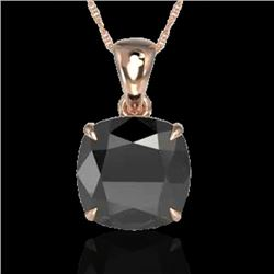 6 Cushion Cut Black VS/SI Diamond Certified Designer Necklace 14K Rose Gold - REF-138Y9N - 21974