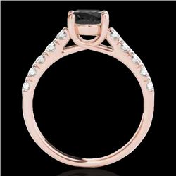 2.1 CTW Certified Vs Black Diamond Solitaire Ring 10K Rose Gold - REF-81M8F - 35502