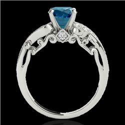 1.25 CTW SI Certified Fancy Blue Diamond Solitaire Antique Ring 10K White Gold - REF-156H4W - 34797