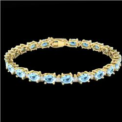 21.2 CTW Aquamarine & VS/SI Certified Diamond Eternity Bracelet 10K Yellow Gold - REF-263F6M - 29446