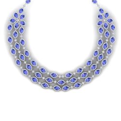 79.33 CTW Royalty Tanzanite & VS Diamond Necklace 18K White Gold - REF-1781W8H - 38949