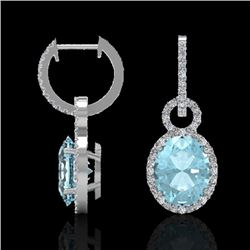 6 CTW Aquamarine & Micro Pave Halo VS/SI Diamond Earrings 14K White Gold - REF-125R5K - 22728