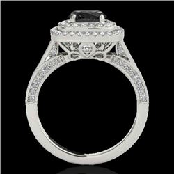 2 CTW Certified Vs Black Diamond Solitaire Halo Ring 10K White Gold - REF-114R5K - 33655