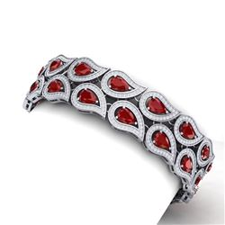 21.6 CTW Royalty Designer Ruby & VS Diamond Bracelet 18K White Gold - REF-818T2X - 39483