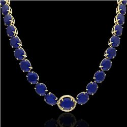 170 CTW Sapphire & VS/SI Diamond Halo Micro Solitaire Necklace 14K Yellow Gold - REF-685K3R - 22315
