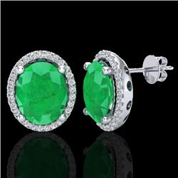 6 CTW Emerald & Micro Pave VS/SI Diamond Certified Earrings Halo 18K White Gold - REF-101R6K - 21053