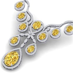 36.51 CTW Royalty Canary Citrine & VS Diamond Necklace 18K White Gold - REF-800K2R - 38568
